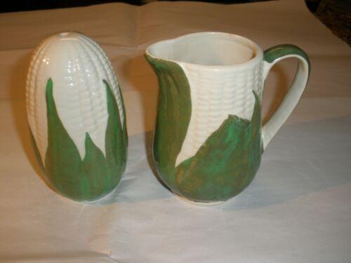 Shawnee Potter White Corn sugar shaker and creamer  htf