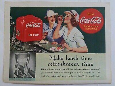 Antiquitäten Anzeigen (1939 Coca Cola Soda Brunnen Bringst Mittagessen Zeit Erfrischung Vintage Anzeige)