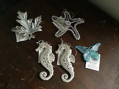 Starfish Christmas Ornaments (Christmas Tree Ornaments Starfish Seahorse Butterfly Leaf Silver)