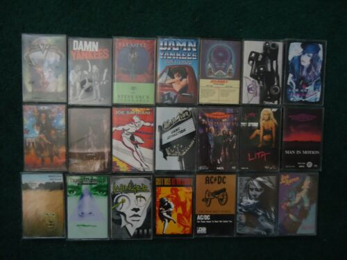 Lot of 21 Hair/Glam Metal Hard Rock Cassettes Various Artists GNR AC/DC Winger