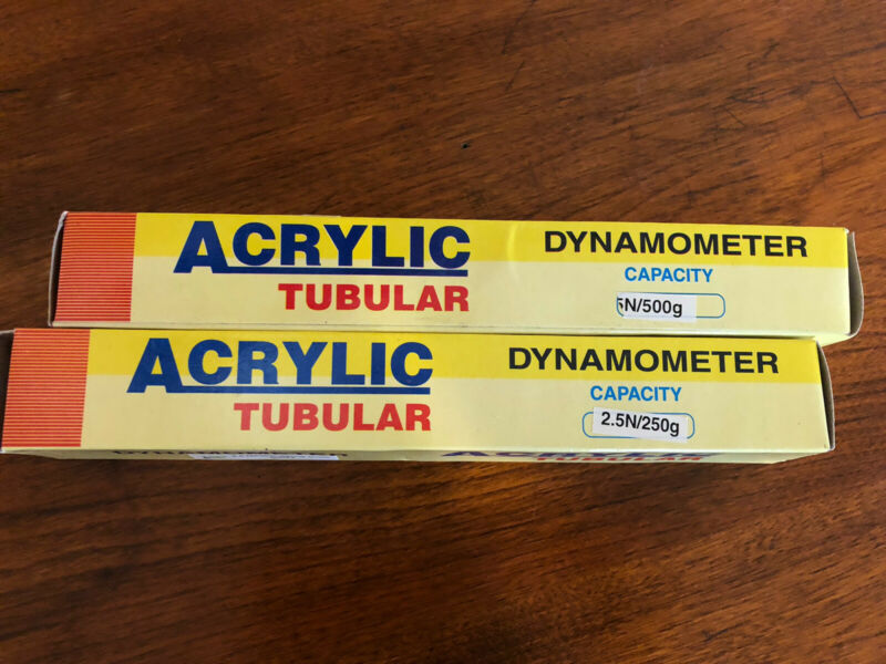 Set of 2 ACRYLIC TUBULAR Dynamometers 2.5 & 5 Newton Spring Scales-NIB