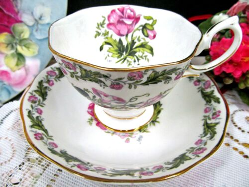 ROYAL ALBERT tea cup and saucer COTSWALD floral pink teacup pattern England