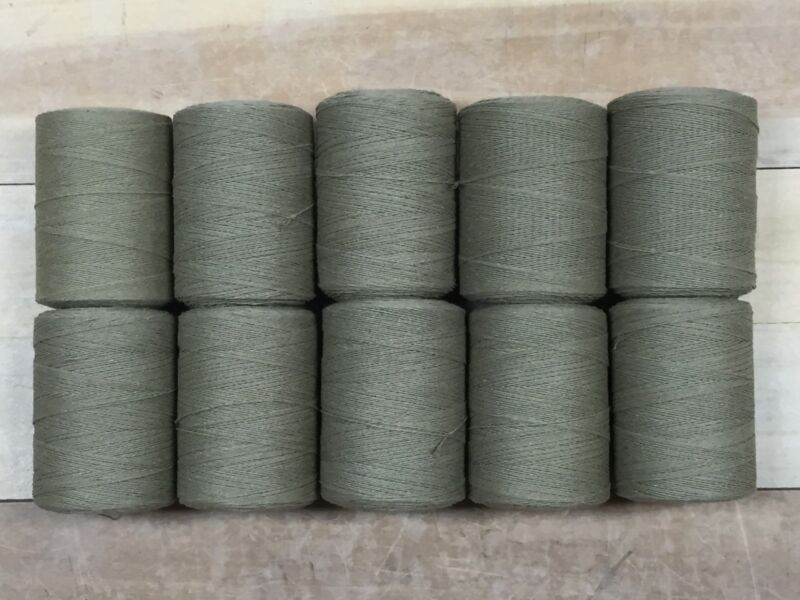 Rug Warp - Lot of 10 spools - 8/4 Cotton / Polyester Blend - Color Khaki Green