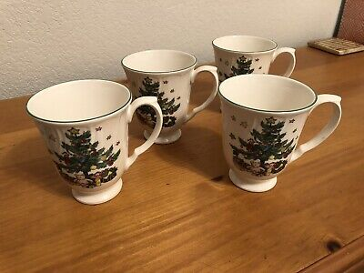 Nikko Happy Holidays Christmas Tree TALL Coffee Mugs Set Of 4 Mint Condition