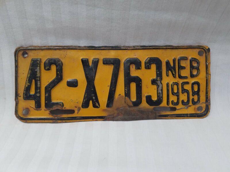 "Vintage 1959 Nebraska Trailer Motorcycle License Plate 8"""