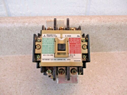 MITSUBISHI S-K50 MAGNETIC CONTACTOR 80 A, #5221250G USED
