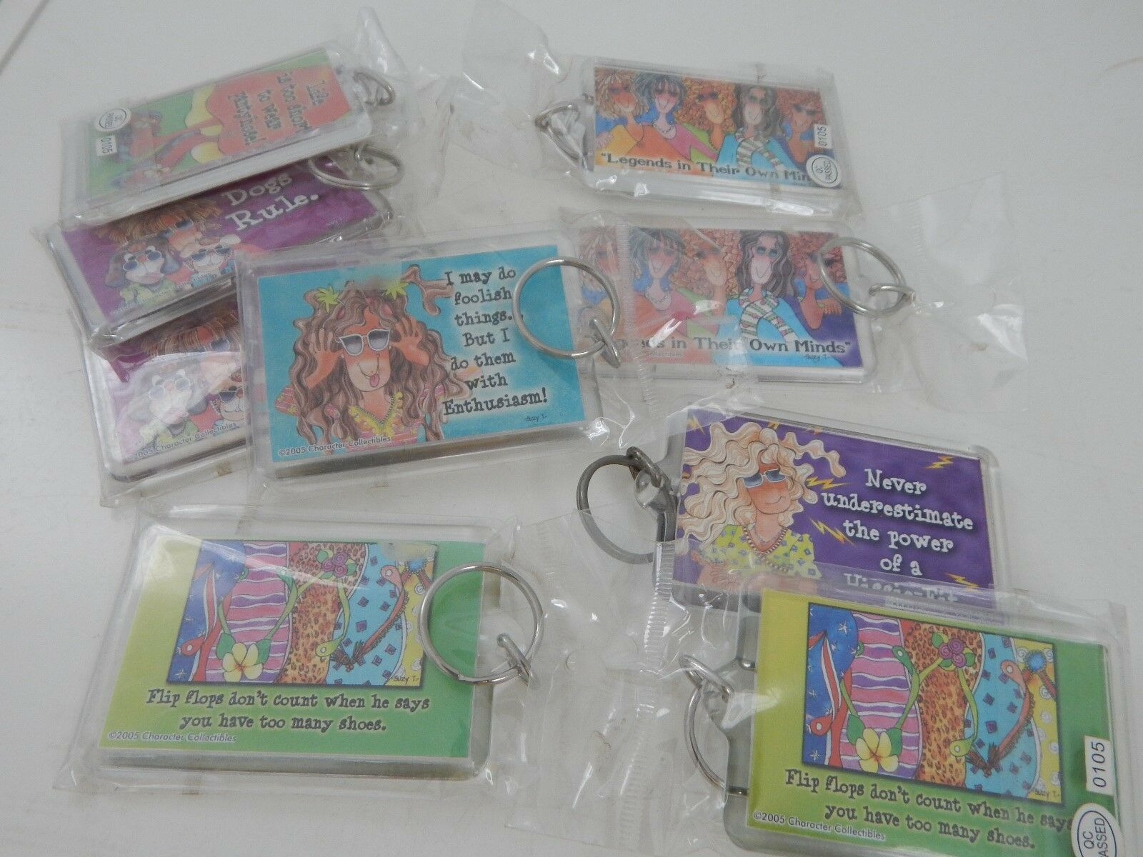 Funny Key Chains Lot of 16 Ladies Dogs Cats Great Christmas Stocking Stuffer New