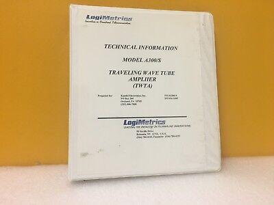 Logimetrics A300s Traveling Wave Tube Amplifier Twta Technical Information
