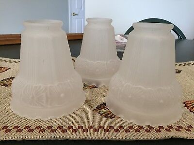 "Set of 3 Vintage 4"" Frosted Glass Lamp Bobeches Chandelier Parts Repair"