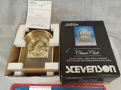 Vintage Sunbeam Quartz Brass Skeleton Clock RARE NEW IN BOX 882-600 Desk Mantle