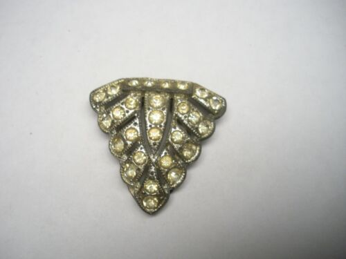 VINTAGE SIGNED GOODY ART DECO WHINESTONE BROOCH DRESS OR FUR CLIP
