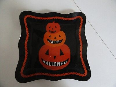 TAG Happy Halloween Orange Pumpkins Scalloped Edge Black Glass Serving Dish](Halloween Scallops)