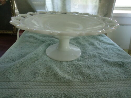 Anchor Hocking Milk Glass  White Old Colony Open Lace  Footed Bowl Compote