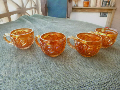 IMPERIAL DARK MARIGOLD ROYALTY SET OF FOUR PUNCH CUPS-SCARCE IF YOU NEED THEM