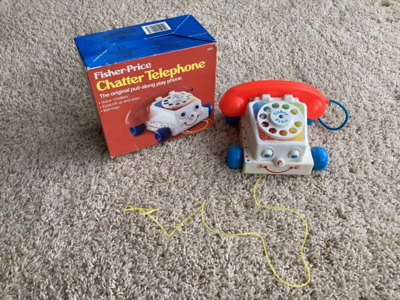 Vintage Fisher Price Chatter Telephone Phone Pull Toy Moving Eyes  #2063 + Box