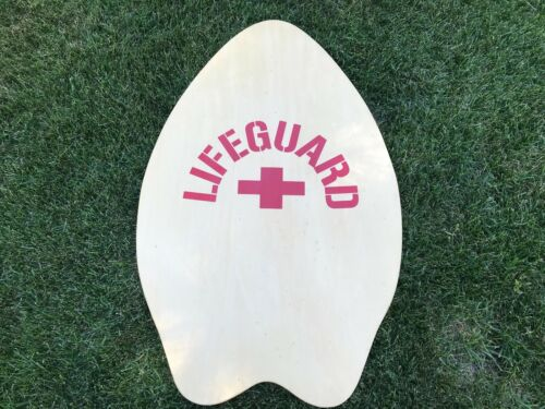 Lifeguard Wood Skim Board Boogie Board Plus sign Red Cross