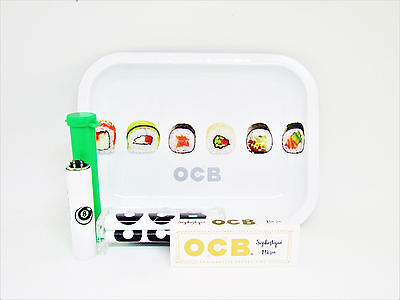 Metal Roller Tray - OCB Mini Metal Rolling Tray with Lid Bundle Rolling Roller Tube Clipper Lighter