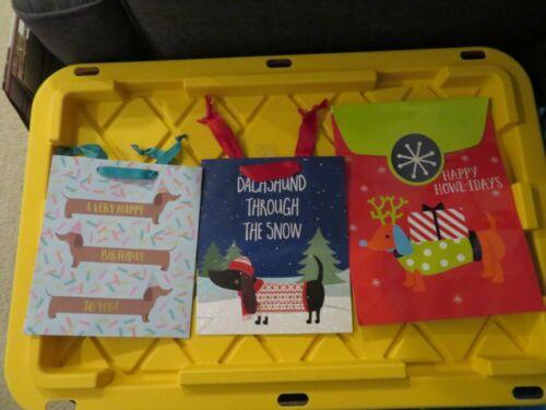 Set of 3 Dachshund Wiener Dog Gift Bags - Birthday Glitter Christmas Holiday NEW