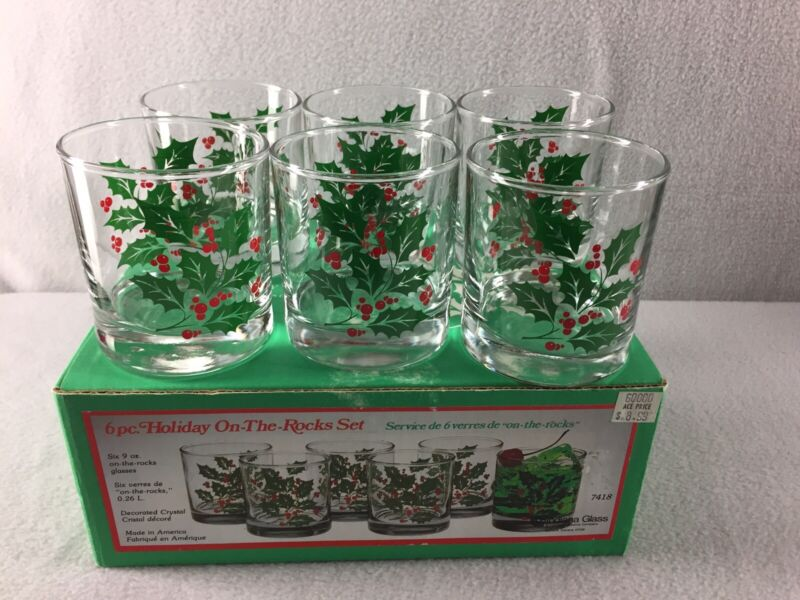 6 Indiana Glass Holiday On The Rocks Tumbler Glasses Christmas Holly Berry