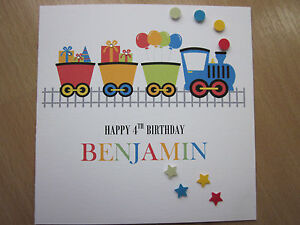 Personalised-Handmade-Boys-Train-Birthday-Card-3rd-4th-5th-6th-7th-Any-Age