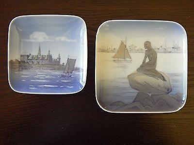 Vintage pair Royal Copenhagen Square Dish Plates LANGELINIE & KRONBORG rare