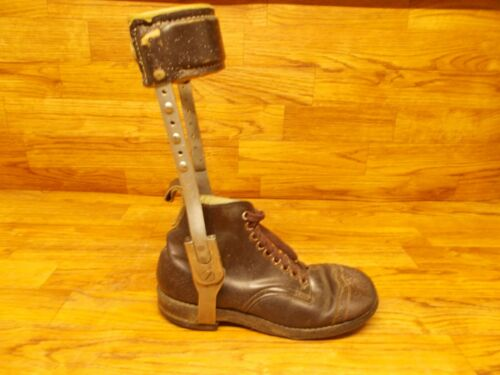 Antique Polio Leg Brace with Shoe - True vintage Leather Construction USA
