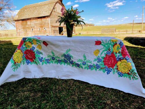 "Vintage Heavy cotton Tablecloth Tulip flowers 66x56"""