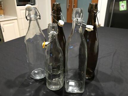 Water bottles, glass.