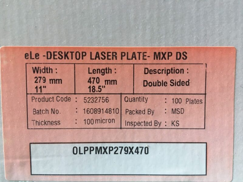 """Polyester Plates / Laser Plates 11"""" x 18.5"""" HP5000 XANTE 2 SIDED"""
