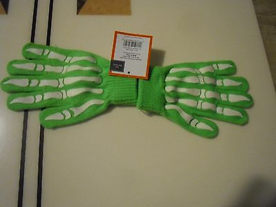 New 1 Pair Youth Glow in the dark skeleton Gloves One size fits most Green Color