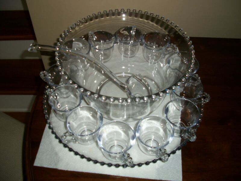 Vintage Imperial Glass Candlewick Punch Bowl (400/20) and Ladle (400/91) set