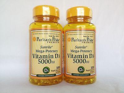 Puritan S Pride Mega Potency Vitamin125 Mcg D3 5000 Iu  200 Softgels
