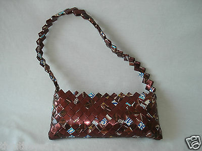 Candy Wrapper Purse Handbag Clutch Small Chocolate Brown Blue White Strap Zip  - Blue Wrapper Chocolate