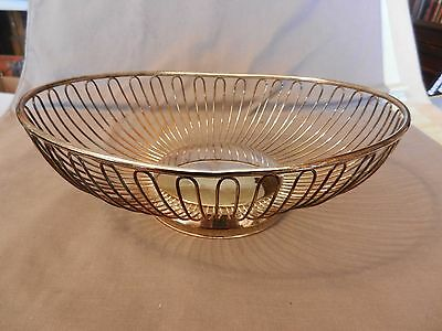 Vintage Silverplated Oval Wire Bread or Fruit Basket
