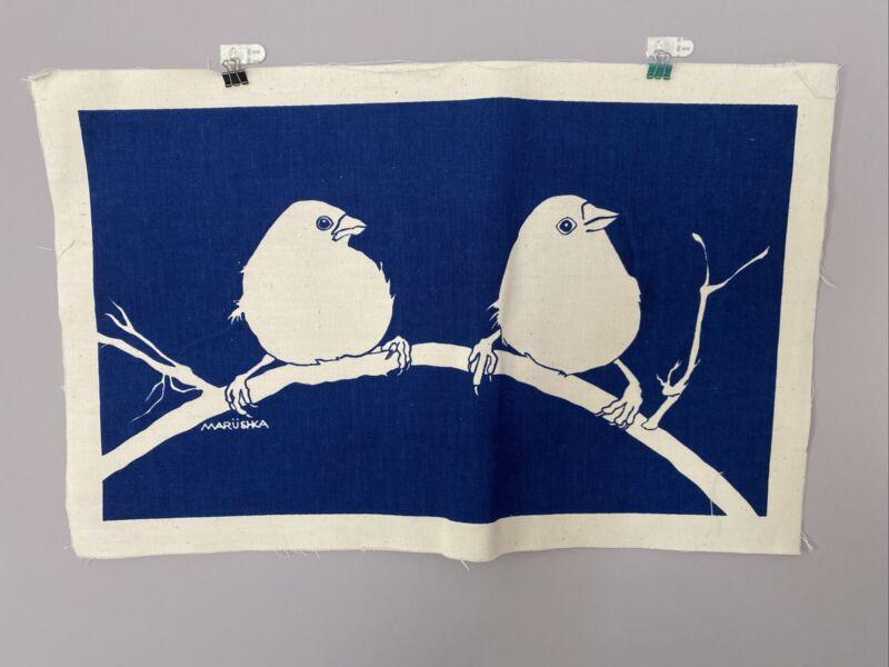 "Vintage Marushka  Wall Art 2 Birds On A Branch Linen 13"" x 20"" mid century"