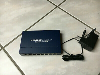 NETGEAR GS108 8-Port Gigabit Ethernet Schalter Switch 8x 10/100/1000Mbit- Metall