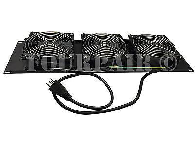 """3 Fan 19/"""" Rack Mount Cooling Panel System DJ Rack Case Server Cabinet 3U 120mm"""