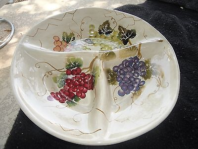 Tabletops Cabernet Purple Red Green Grapes Leaves 3-Part Sectioned Relish Dish for sale  Arlington
