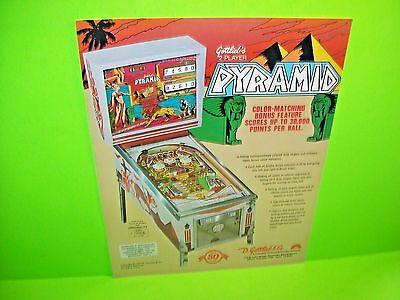 Gottlieb 1977 PYRAMID Original Flipper Game Pinball Machine Promo Sales Flyer