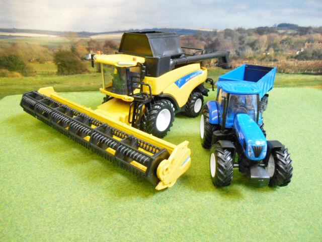 NEWRAY FARM 1/32 NEW HOLLAND CR9090 COMBINE T7.270 TRACTOR & TRAILER HARVEST SET