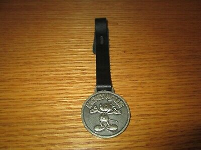 Vintage Mickey Mouse Pewter Pocket Watch Fob Walt Disney Company Missing Buckle