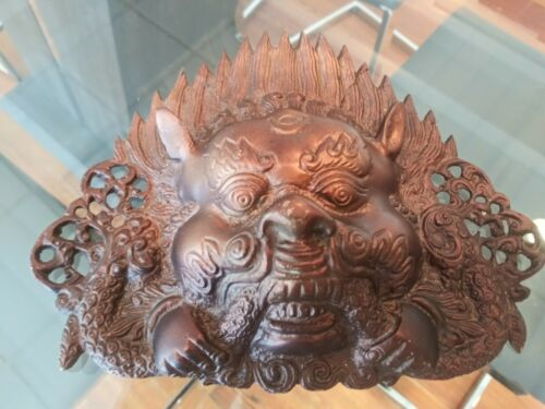 Vintage Old Tibetan Tibet Hanging Mask Decorative Bronze Copper