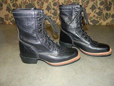 ACME MESA LACER AC570 PACKER ROPER WESTERN COWBOY WOMENS BLACK BOOTS~Sz 6~VGC!!!