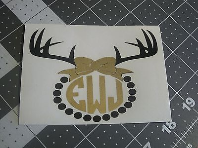 Deer Antlers with Bow Monogram Sticker Decal for Yeti or Artic cup or car decor (Deer Antlers For Cars)