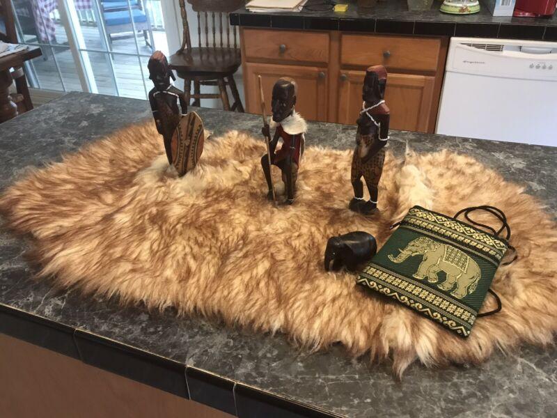 vintage 3 hand carved Tribal Warriors Kenya Made /elephant,wood Mahoney ,purse