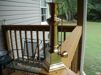 """Polished Brass Candle Stick Holder with Attached Removable Snuffer  11 1/4"""" Tall"""