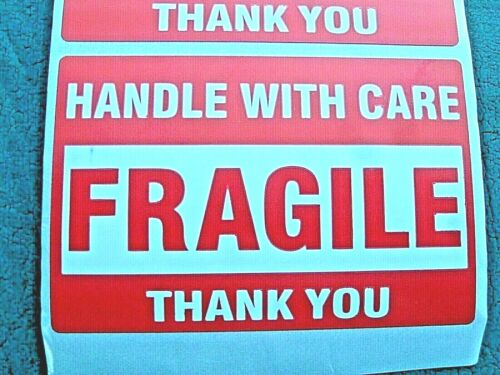 """FRAGILE Handle With Care Stickers 2"""" x 3"""" Pack of 30 (THIRTY) Self Stick Labels"""