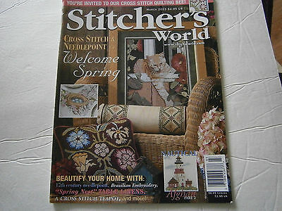 March 2003 Stitcher's World Cross Stitch Pattern Magazine Teapot Table Linens World Linen Pattern