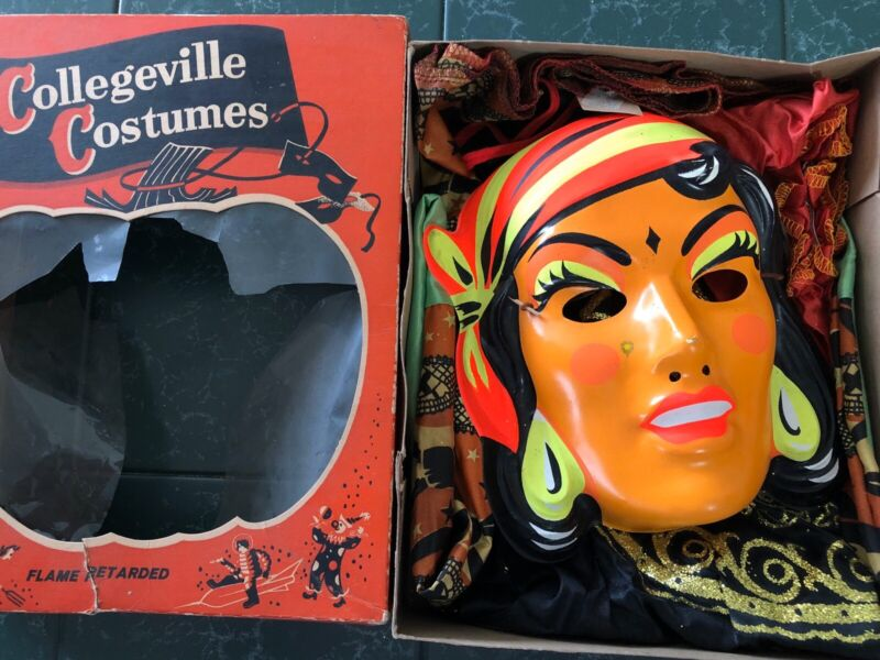 Vintage Collegeville Halloween Costume Gypsy Women Plastic Mask Adult Small Box