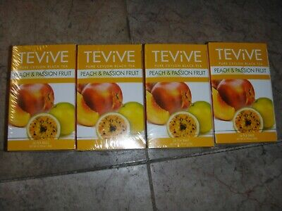 New 4 X  20 Foil Tea bags Tevive Peach & Passion Fruit Pure Ceylon Black Tea